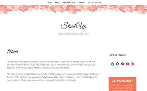 Screenshot of About Page storkup.com - About - StorkUp - captured Oct. 19, 2018