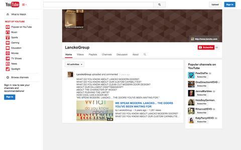Screenshot of YouTube Page youtube.com - LanckoGroup  - YouTube - captured Nov. 1, 2014