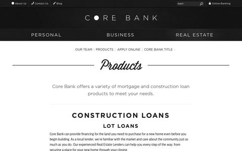 Screenshot of Products Page corebank.com - Products | Core Bank - captured Sept. 30, 2014