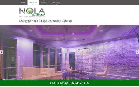 Screenshot of Products Page nolaled.com - Products | NOLA LED - Marrero, Louisiana - captured Feb. 16, 2016