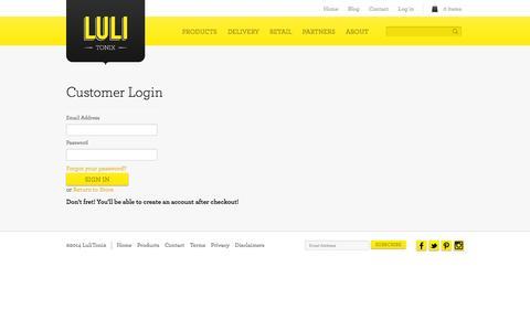Screenshot of Login Page lulitonix.com - LuliTonix | Account - captured Sept. 30, 2014