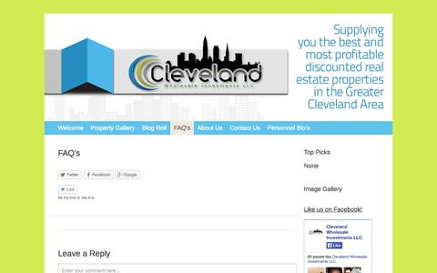 Screenshot of FAQ Page 216reinvestments.com - FAQ's   Cleveland Wholesale Investments LLC. - captured Oct. 2, 2014