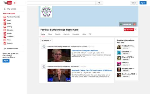 Screenshot of YouTube Page youtube.com - Familiar Surroundings Home Care  - YouTube - captured Oct. 23, 2014
