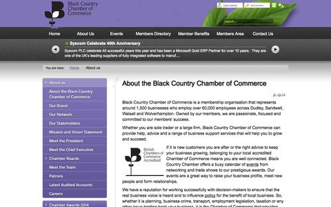 Screenshot of About Page blackcountrychamber.co.uk - About the Black Country Chamber of Commerce - captured Oct. 5, 2014