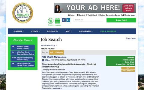 Screenshot of Jobs Page midlandtxchamber.com - Job Search - Midland Chamber of Commerce, TX - captured Nov. 28, 2016