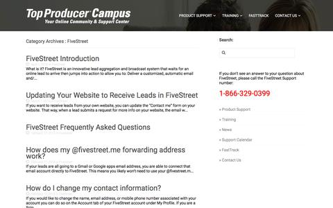 Screenshot of Support Page topproducer.com - FiveStreet «  Top Producer Campus - captured Aug. 15, 2018