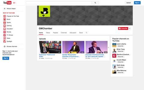 Screenshot of YouTube Page youtube.com - GMChamber  - YouTube - captured Oct. 23, 2014