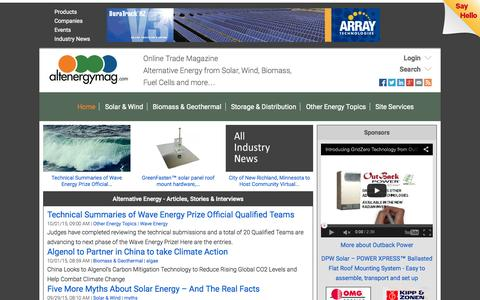 Screenshot of Home Page altenergymag.com - Alternative Energy Stories, Videos, Articles, Interviews, Reviews & News  | AltEnergyMag - captured Oct. 1, 2015