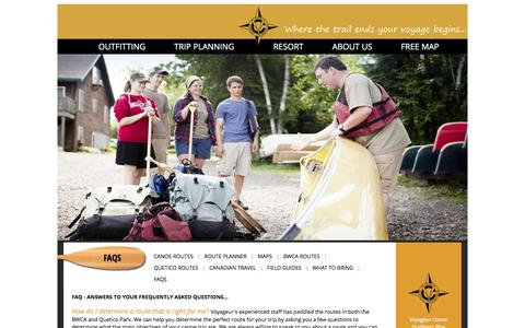 Screenshot of FAQ Page canoeit.com - Voyageur Canoe Outfitters - FAQs - captured Feb. 15, 2016