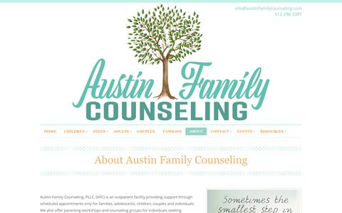 Screenshot of Services Page austinfamilycounseling.com - About | Austin Family Counseling | Child, Couples, Individual, Family Counseling/Therapy Austin TX 78746 - captured July 31, 2018