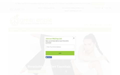 Screenshot of Home Page greenappleactive.com - Green Apple Active: Bamboo Activewear & Workout Clothes - captured July 18, 2016