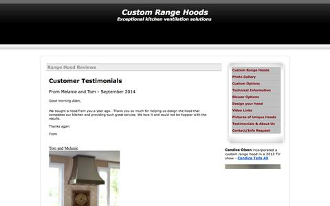 Screenshot of Testimonials Page customrangehoods.ca - Custom range hood reviews - captured Sept. 30, 2014