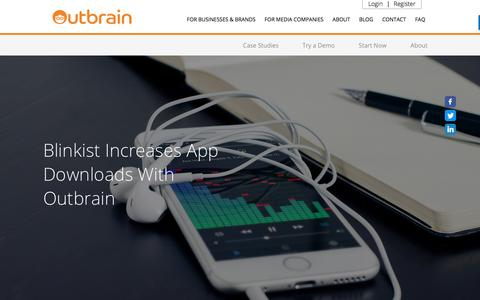 Screenshot of Case Studies Page outbrain.com - Blinkist Increases Mobile App Downloads With Outbrain | Case Study - captured April 19, 2018
