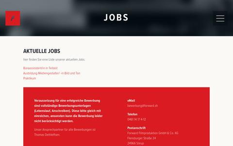 Screenshot of Jobs Page forward.sh - Jobs - Forward Filmproduktion - captured Oct. 11, 2018