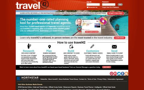Screenshot of Home Page travel-42.com - travel42 - Hotel reviews, destination guides and travel alerts for travel professionals - captured Feb. 12, 2016