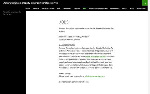 Screenshot of Jobs Page asmararental.com - Jobs | AsmaraRental.com property owner  post here for rent free - captured Dec. 26, 2015