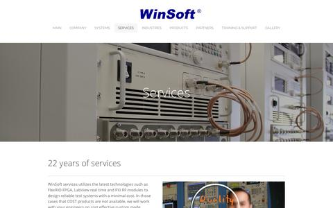 Screenshot of Services Page winsoft.com - Services - Engineering & Test Solutions - captured Feb. 17, 2016