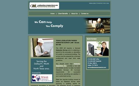 Screenshot of Home Page asbestosinspectors.com - Dallas Asbestos Inspectors - Asbestos Inspection - Asbestos Inspectors Inc - captured Oct. 4, 2014