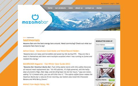Screenshot of Testimonials Page mazamabar.com - Mazama Bar | High-Performance Energy Bars |  Testimonials - captured Oct. 27, 2014