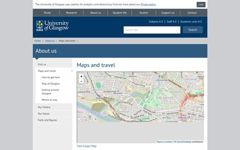 Screenshot of Maps & Directions Page gla.ac.uk - University of Glasgow - About us - Maps and travel - captured Jan. 13, 2016