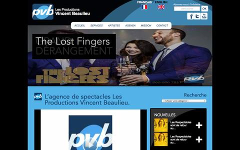 Screenshot of Contact Page vincentbeaulieu.com - Agence de spectacles Productions Vincent Beaulieu Québec et Montréal - captured Oct. 3, 2014