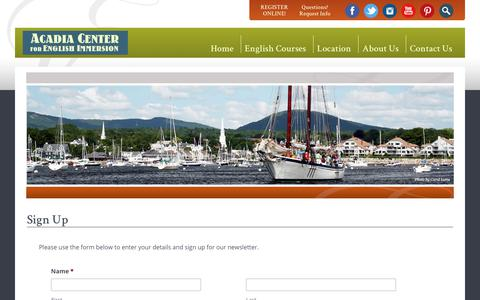 Screenshot of Signup Page acadiaenglish.com - Sign Up - Acadia Center For English Immersion - captured Oct. 2, 2018