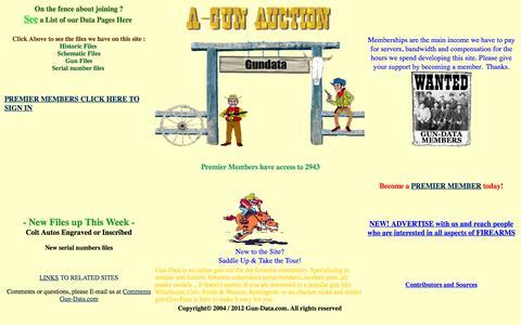 Screenshot of Home Page gun-data.com - Gun Data, Online gun data for antique and collector guns, gun serial numbers - captured Oct. 14, 2015
