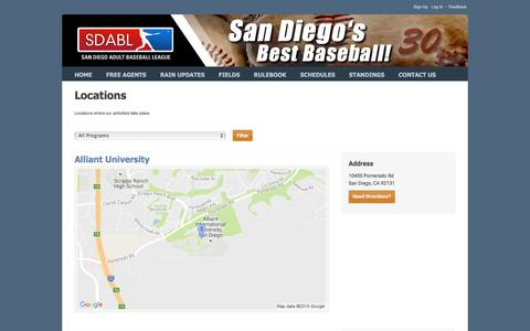 Screenshot of Locations Page sdabl.com - San Diego Adult Baseball League : Locations - captured Nov. 17, 2016