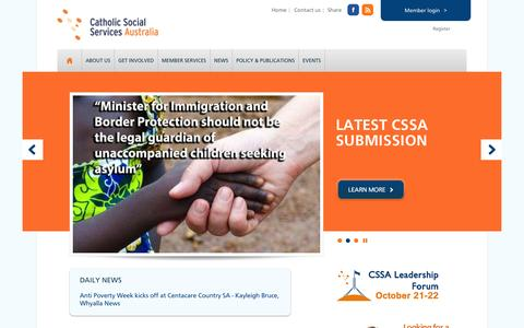 Screenshot of Home Page cssa.org.au - Catholic Social Services Australia - captured Oct. 2, 2014