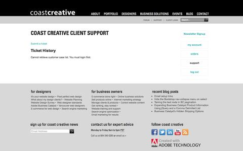Screenshot of Support Page coastcreative.ca - Adobe Business Catalyst Vancouver SEO & E-Commerce | Support History - captured Sept. 30, 2014