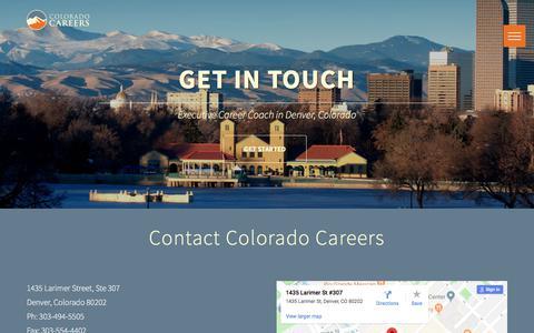 Screenshot of Contact Page coloradocareers.com - Colorado Careers | Corporate & Executive Job Search - captured July 20, 2018