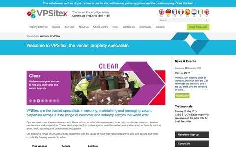 Screenshot of Home Page vpsitex.ie - VPSitex, the world leading vacant property specialists - captured Sept. 30, 2014