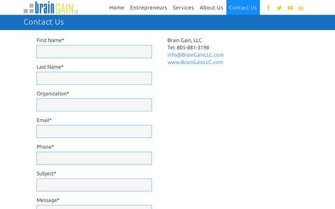 Screenshot of Contact Page braingainllc.com - BrainGainLLC |   Contact Us - captured Aug. 3, 2018