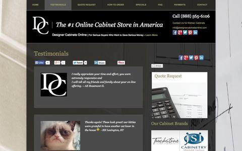 Screenshot of Testimonials Page designercabinetsonline.com - Testimonials | Designer Cabinets OnlineDesigner Cabinets Online - captured Oct. 5, 2014