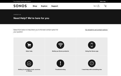 Screenshot of Contact Page sonos.com - Contact   Sonos - captured June 30, 2017