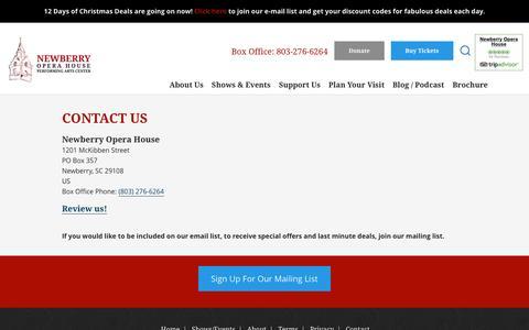 Screenshot of Contact Page newberryoperahouse.com - Contact Us - Newberry Opera House - captured Dec. 16, 2016