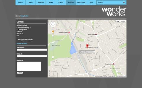 Screenshot of Contact Page wonder.co.uk - Contact - Wonder Works - captured Oct. 9, 2014