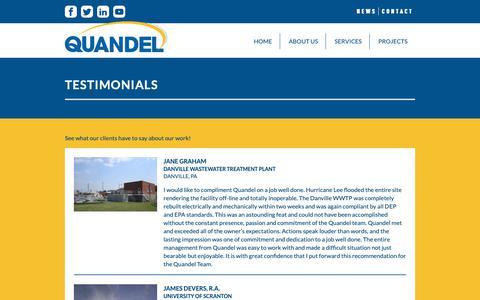 Screenshot of Testimonials Page quandel.com - Testimonials - Quandel Construction - captured Sept. 29, 2018