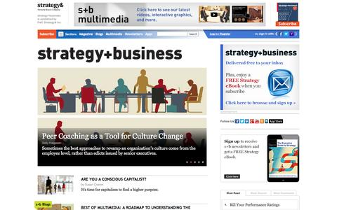 Screenshot of Home Page strategy-business.com - strategy+business: international business strategy news articles and award-winning analysis - captured Sept. 23, 2014
