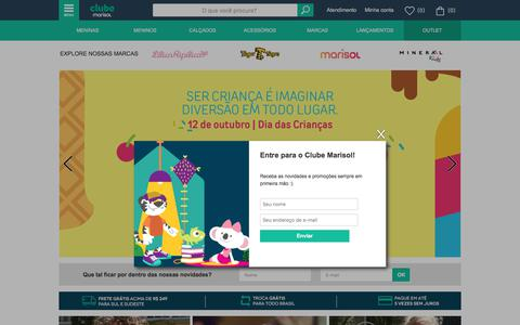 Screenshot of Home Page clubemarisol.com.br - Clube Marisol - Moda Infantil - captured Oct. 17, 2017