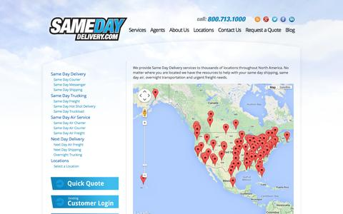Screenshot of Locations Page samedaydelivery.com - Same Day Delivery services across USA and Canada | View our locations - captured Oct. 23, 2014