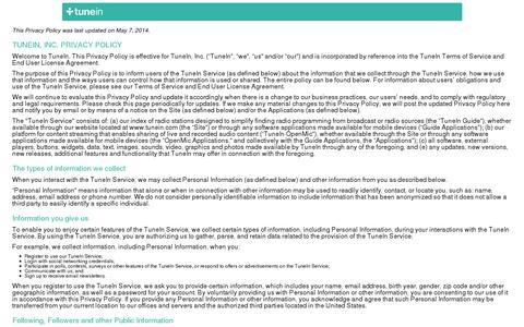 Screenshot of Privacy Page tunein.com - TuneIn Radio Privacy - captured July 21, 2014