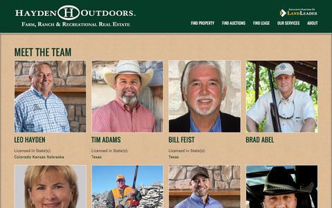 Screenshot of Team Page haydenoutdoors.com - Meet the Team | Hayden Outdoors - captured Sept. 22, 2018