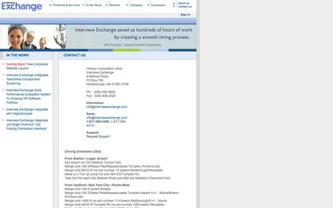 Screenshot of Contact Page interviewexchange.com - Hiring Management Systems ::: Interview Exchange - captured Sept. 24, 2014