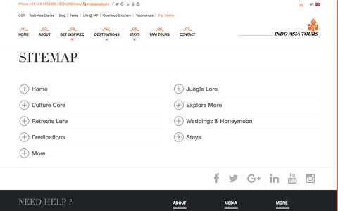 Screenshot of Site Map Page indoasia-tours.com - Sitemap | Tailor made tour package India - Indo Asia Tours - captured Sept. 30, 2018