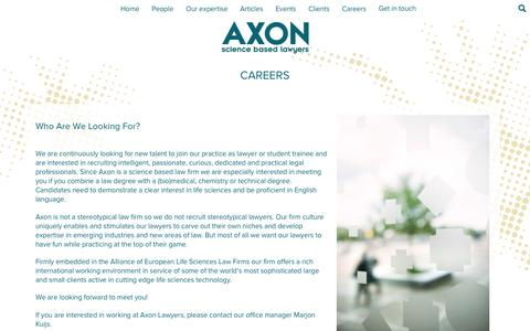 Screenshot of Jobs Page axonlawyers.com - Axon Lawyers – Careers - captured July 27, 2016