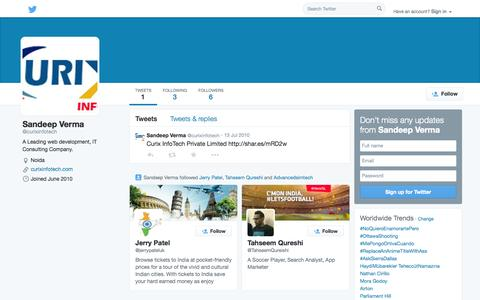 Screenshot of Twitter Page twitter.com - Sandeep Verma (@curixinfotech) | Twitter - captured Oct. 22, 2014