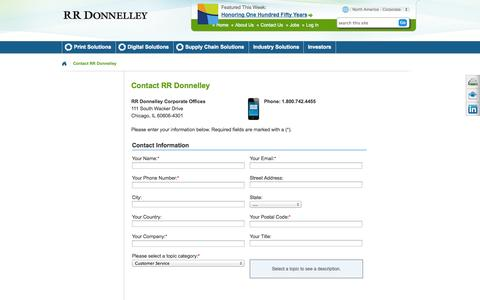 Screenshot of Support Page rrdonnelley.com - Contact  | RR Donnelley - captured Oct. 23, 2014