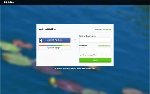 Screenshot of Login Page slickpic.com - SlickPic - Photo Sharing. Host photos in style and security. - captured Sept. 25, 2014