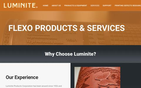 Screenshot of Services Page luminite.com - Flexo Products & Services – Luminite - captured Sept. 30, 2018